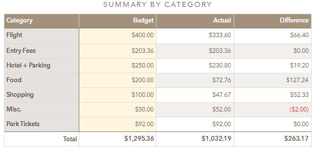 disneyland budget wrapup
