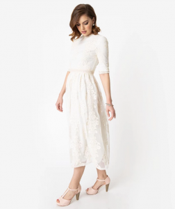 plus size Vintage Style Antique Ivory Embroidered Lace Modest Midi Dress