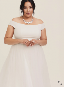 Torrid affordable off shoulder plus size wedding dress